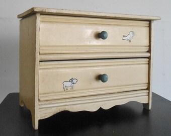 Antique Doll Dresser Clothing Storage Cream Wood Miniature Furniture Decals
