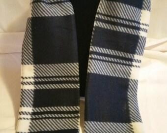 Hand Crafted Blue Plaid Fleece Scarf