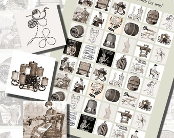 Vintage Sewing and Embroidery Images, ONE INCH SQUARES (25 mm), 3/4 inch (20mm) squares, and 1/2 inch (13mm) squares