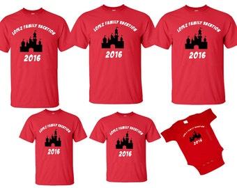 DISNEY Mickey & Minnie Disneyland Disneyworld family trip vacation - CASTLE matching shirts tshirts with custom names