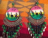 Vintage Hand Painted Ethic Dangle Earrings