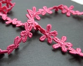 Pink Daisy Flower lace Trim 12mm