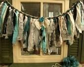 28 wide Vintage Boho Turquoise Teal Kitchen Valance Fabric Lace Garland Curtain Burlap Black Unique