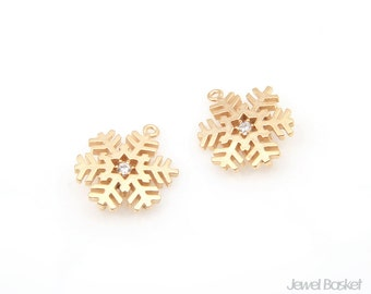 Snow Crystal in Matte Gold / 12mm x 14.5mm / BMG239-P (2pcs)
