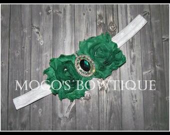 Double Green Shabby Flower on FOE Headband w/ Gem Center