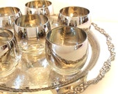 Rocks Old Fashioned Glasses Silver Ombre Fade Roly Poly Mid Century Cocktail Glasses Mad Men Style- Set of 6 - Circa 1960's | 12 oz Glasses