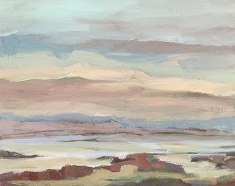 Landscape painting, wall candy, fine art,  muted colors, christine parker 8x10 painting, original art, modern impressionist, beach, painting
