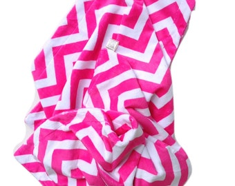 Adult Minky Blanket, Pink Chevron, Large Minky Blanket , Adult Throw, Dorm Room Blanket, Minky Adult Blanket, Girls Bedding  50 x 60 in