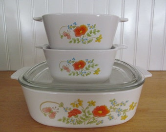 Corning Ware Wildflower Casserole Dishes 3