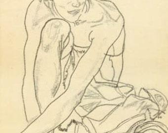 "Schiele Egon 63, Lithograph, ""Woman crouching"""