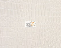Vinyl Faux Fake Leather Pleather Embossed Shiny Amazon Crocodile Fabric - WHITE -  By The Yard Upholstery Purses Shoes Wallets Belts