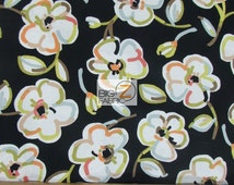 100% Cotton Fabric By Benartex Fabrics - Dwellings Blooming Flowers Black - Sold By The Yard (FH-2103) Floral