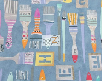 100% Cotton Fabric By Windham Fabrics - Paint Brushes Blue - Sold By The Yard (FH-2400)