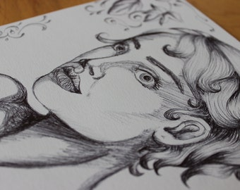 Staring Woman Illustration (Black and White)