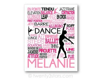 Dance Typography Art, Girl's Room Art, Choose the Colors, Gift for any Dancer, Tap, Ballet, Hip-Hop Teacher Dance Team, Canvas or Art Pr