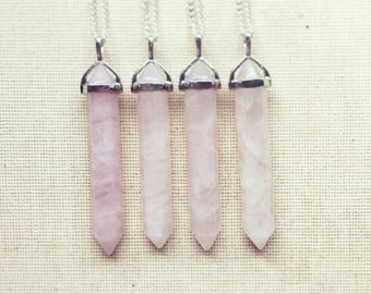 Rose Quartz Necklace - Crystal Necklace, Quartz Necklace, Gemstone Necklace, Gemstone Necklace, Valentines Day Gift FREE SHIPPING