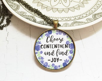 Joy Necklace,Inspirational Necklace,Best Friend Necklace,Graduation Gift,Mom Necklace,Quote Pendant,Choose Joy,Friend Gift,Happiness Quote