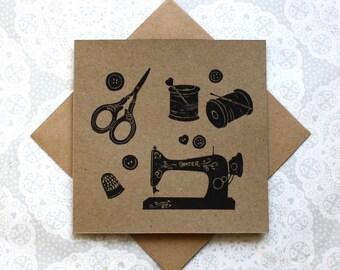 Vintage Sewing machine greetings card | Dressmaking | Quilting | Birthday | Recycled card | Handmade | Lino print |
