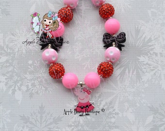 Peppa pig necklace Peppa the Pig dress up necklace Peppa Chunky Necklace Peppa Pig Beaded jewelry necklace Peppa Pig Bubblegum Necklace