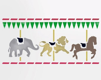 Nursery border stencils, Merry go round, carousel, carnival painting stencil, wall décor stencil. large wall stencil,  home decor stencils