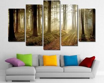 "60""x36"" Framed Huge 5 Panel Art Landscape Sun Light Autumn Forest Trees Park Canvas Art Print - Ready to Hang"