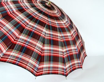 Vintage Red Plaid Umbrella with Red Lucite Handle