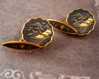 Victorian Japanese Cufflinks Vintage Damascene with 24KT Gold Inlay Fine Japan black Cuff link Jewelry antique mens button accessory