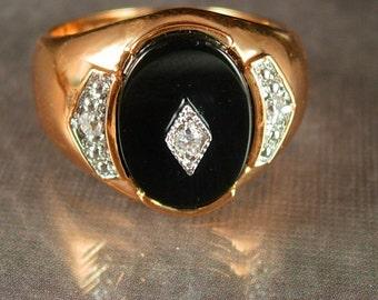 Mens Onyx ring / cz band /  size 13 / wide band / mens fine jewelry / Black Gothic jewelry / edwardian style / 14kt Ge
