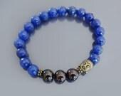Buddha bracelet Wrist mala beads Men bracelet bead Spiritual bracelet Blue jade & garnet bracelet Stress relief, chakra balancing bracelet