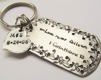 Personalized Hand Stamped Key Ring - Wedding Gift - Wedding Key Ring - Love Key Chain - Gift for the Newlyweds - Heart Key Ring - Biblical