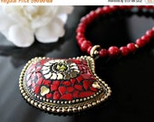 VALENTINE Sale Statement Necklace, Nepalese Red Coral Necklace, Coral Gold Jewelry, Tribal jewelry, Tibetan  Jewelry
