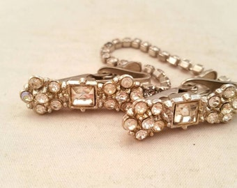 Vintage rhinestone and silver sweater clip