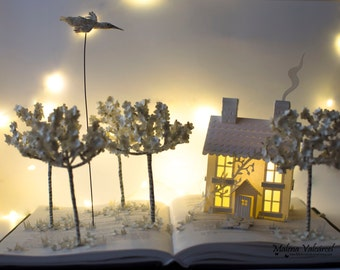 ON SALE!! Book Sculpture - Book Arts - Altered Book - House in a field Paper Art.