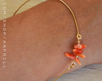 Orange coral bracelet, bangles ,thin gold Bracelet, silver bangle, Coral bracelet, coral color wedding, wedding jewelry, Bridesmaid bracelet