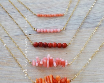 Coral Necklace, pink/red/orange coral necklace, Coral bar Necklace, Gift for Bridesmaid, Gift for Her, bridesmaid necklace,gold bar necklace