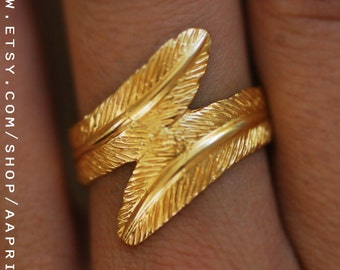 Gold feather ring, delicate ring, gold band, wedding ring, gold wide ring, engagement ring, filigree ring