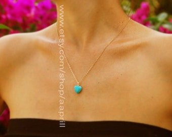 Turquoise gold Heart necklace, bridesmaid gift necklace, turquoise heart pendant, bridesmaid necklace