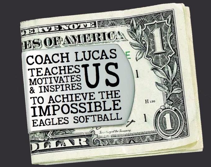 Softball Coach | Softball | Coach Gift | Gift for Coach | Coach Appreciation | Appreciation Gift | Custom Money Clip | Korena Loves