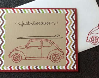 Just Because, Friendship, Thank You, Surf Board, Volkswagen, Car, Handmade, stampin up