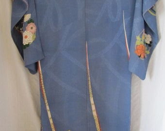 Vintage Japanese Silk Kimono Hand Painted Embroidered Drum Fan Blue Multi-Color Women's