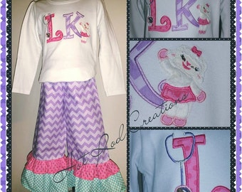 DocMcStuffins Inspired Ruffle Pants and Shirt