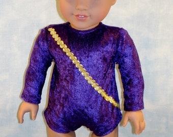 18 Inch Doll Clothes - Purple Velour Gymnastics Leotard handmade by Jane Ellen to fit 18 inch dolls