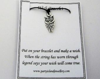 Black OWL Charm Friendship Bracelet on Wish Message Card