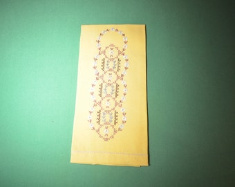Vintage Hand Towel in Yellow with Embroidery