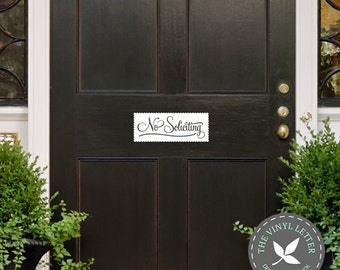No Soliciting Fancy Cut Out Front Door | Window Home Vinyl Decal Sticker