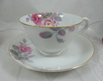1940s Vintage Japanese Pink Flower Teacup and Saucer - Gorgeous