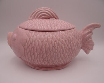 Very Rare 1950s Bauer Pottery Pink Speckle Fish Cookie Jar