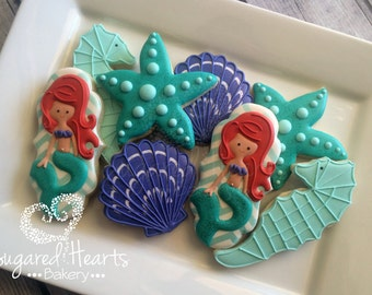 Mermaid Ariel Inspired Under the Sea Cookies - 1 Dozen