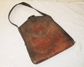 Antique leather purse, tooled leather hand bag,  bags and purse, top handle bag, display purse, 20s 30s 40s, collectible