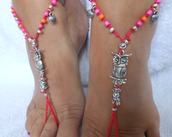 Crochet Barefoot Sandals Beach Wedding  Yoga Shoes Foot Jewelry Silver  Pink Orange
